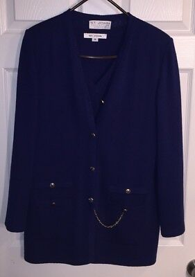 St. John Collection Marie Gray Santana Knit Blue 3-Piece Pant Suit Gold Chain