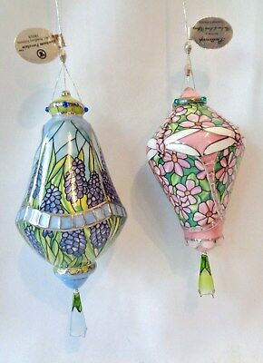 Lot of 2 Bradford Editions Era Louis Tiffany Ornaments Buttercup Hyacinth 2001