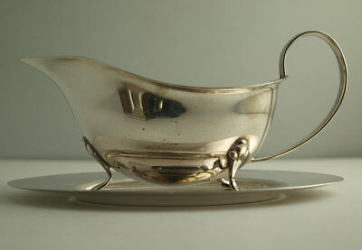 Elegant Silver Plated Sauce Boat & Stand.