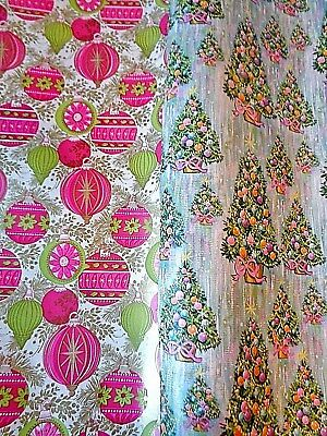 vtg christmas wrapping paper 2 partial rolls pink green ornaments trees 4 yds