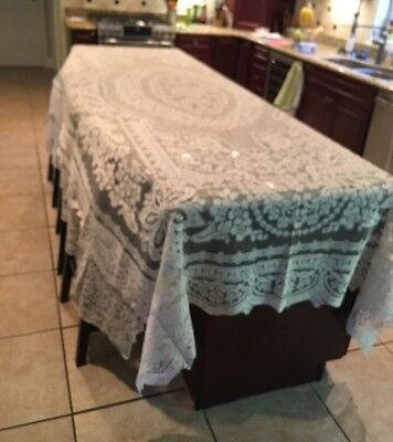 "Beautiful Antique Lg. Hand Made Italian Lace Tablecloth 128"" x 90"" overall"