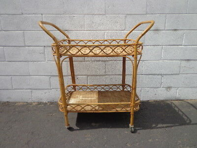 Bar Cart Bamboo Rattan Bohemian Boho Chic Tea Mid Century Vintage Serving Server