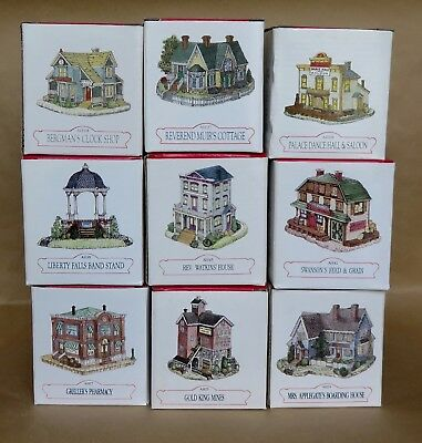 Liberty Falls ~ Lot of 9 Buildings & 4 Accessories  NEW, MINT IN BOXES  33 pcs