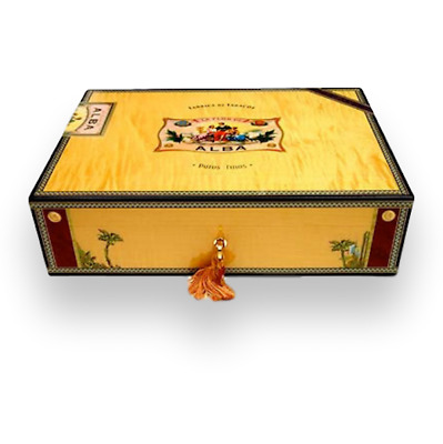 Cigar Humidor Elie Bleu Yellow Sycamore Holds 110 Cigars Alba Collection
