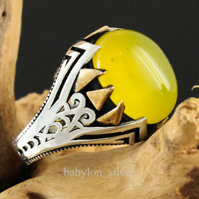 925 Sterling Silver Yellow Agate Stone Turkish Handmade Men's Ring Size 9.5 US