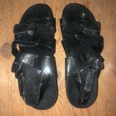 370643135632 VIONIC BY ORTHAHEEL Womens Paros Black Patent Leather Sandals 11 M -  46.95