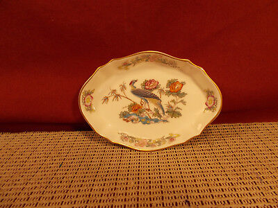 "Wedgwood China Kutani Crane Small Oval Trinket/Silver Tray 4 1/2"" x 3 1/8"""