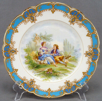 19th Century Sevres Style Renaissance Courting Couple & Sheep Blue & Gold Plate
