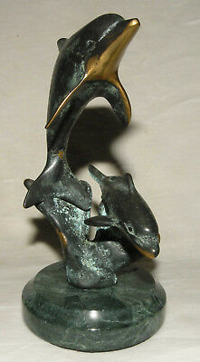 "SPI Dolphin Brass Sculpture Statue Figurine Sea Life ""Mother & Child""  Dolphins"