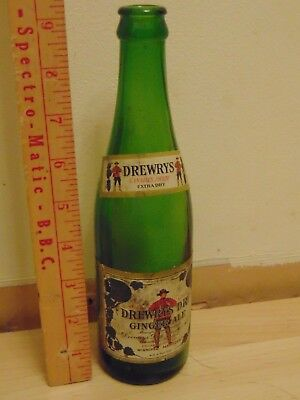 Drewry's Dry Ginger Ale 10 Oz Bottle With Paper Labels  No Mountie On Bottle