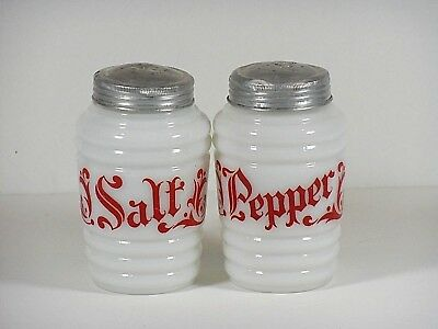 Old English Decorated Red on White Round Ribbed Salt & Pepper Shakers