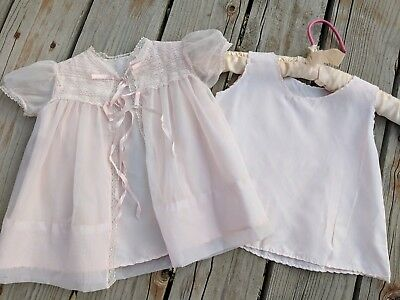 Vintage Sheer Pink Robe And Underslip For Baby Girl Beautiful 2 Piece Outfit