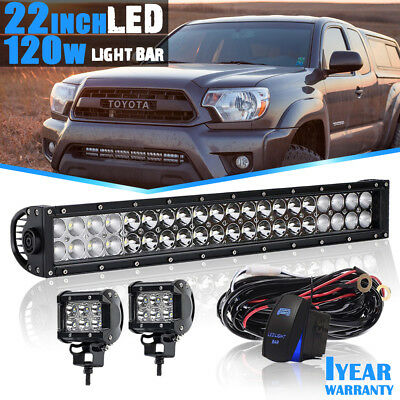 22'' 120W LED Work Light Bar Spot Flood Combo For Toyota Boat Lamp+FREE 2X18W
