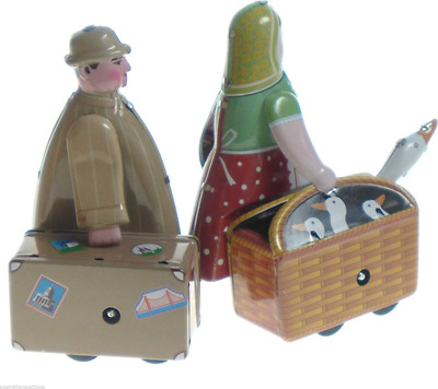 2 Tin Toys Lady With Goose & Man With Case  Mechanical Wind Up  Collectibles