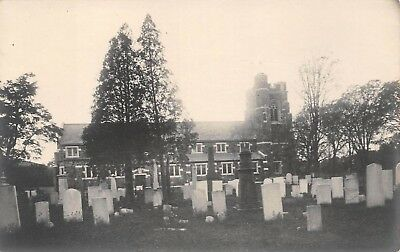 West Haven, Conn. Real Photo PC c. 1910 Christ Church & Cemetery, Cyko Stamp Box