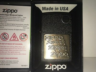 Zippo Windproof Black Crackle Lighter With Brass Zippo Emblem, 362, New In Box
