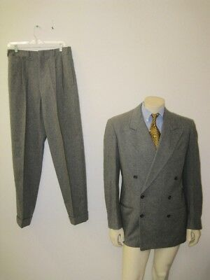 Vintage 1940s Gray Wool Double Breasted Gangster Suit Size 38 LONG