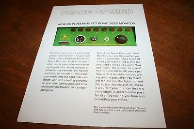 John Deere New Electronic Seed Planter Monitor for 1240 494A Brochure 1970!