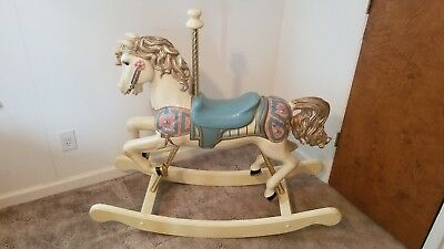 S&S Woodcarvers Hand Painted Wooden Carousel Rocking Horse 1984