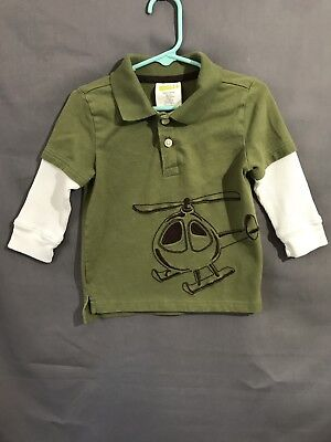 Crazy 8 Long Sleeve Helicopter Shirt Boys Size 18-24 Months - Green