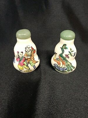 LOT Antique CHINESE Porcelain SNUFF BOTTLE JADE Top /two