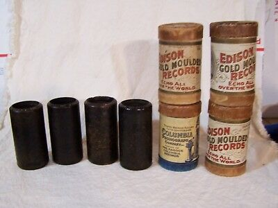 Lot of 4 Antique EDISON Gold Echo & Columbia Phonograph Cylinder Wax Records