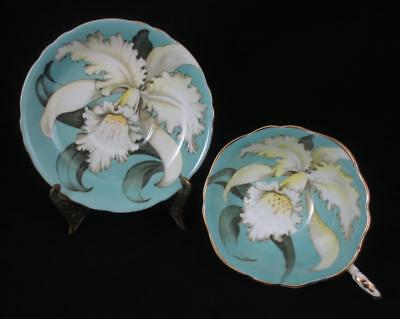 Vtg PARAGON England ORCHID Cup & Saucer AQUA BLUE (Repaired Handle) DOUBLE WARR.