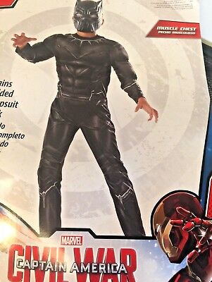 Captain America Civil War Black Panther Boys Muscle Halloween Child size 4-6