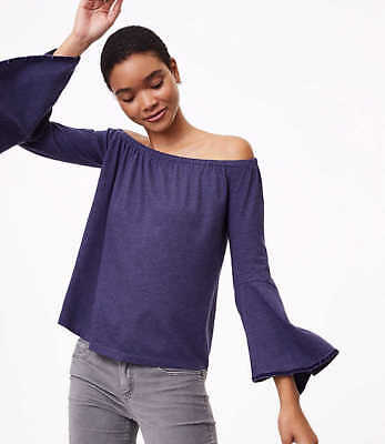 2bc4e6b9d13141 NWT Ann Taylor Loft Blue Velvet Trim Off The Shoulder Bell Sleeve Shirt  49  M