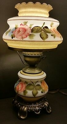 Vintage Hand Painted Gone With The Wind Hurricane Lamp Milk Glass