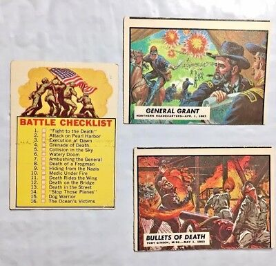 Lot Of 3 1962 Topps Civil War News #'s 38, 40 & 66 The Checklist- Good Condition