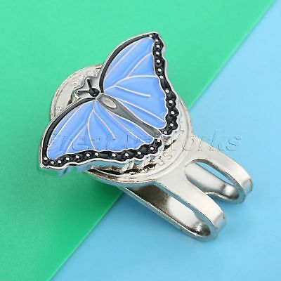 Blue Stylish Butterfly with Crystals Golf Ball Marker with Magnetic Hat Clip