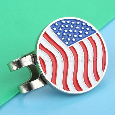 1X USA Flag Metal Golf Ball Marker Magnetic Hat Clip Golf Accessory Golfer Gift