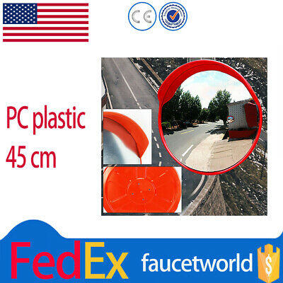 "18"" 45cm Wide Angle Convex Security Mirror for Curved Road Traffic Driveway USA"
