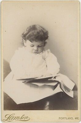 Child Looking At Family Photographs Portland, Maine Cabinet Card Photo 2785