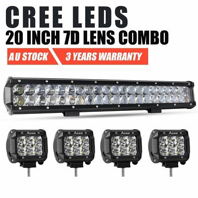 20inch CREE Spot Flood LED Work Light Bar + 4'' Pods Fog Offroad 4WD SUV Jeep