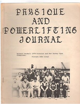 Physique And Powerlifting Journal Belmont Barbell 1978 +New Jersey Open Champion