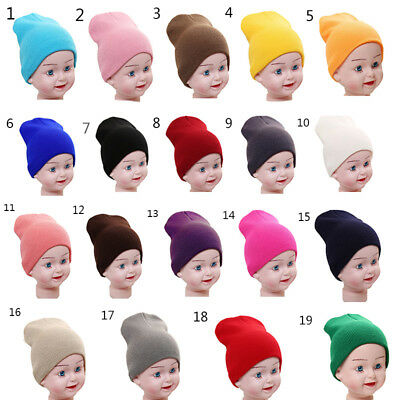 Kids Baby Wool Soft Hats Girl Boy Knit Hat Toddler Infant Warm Cap Candy Colors