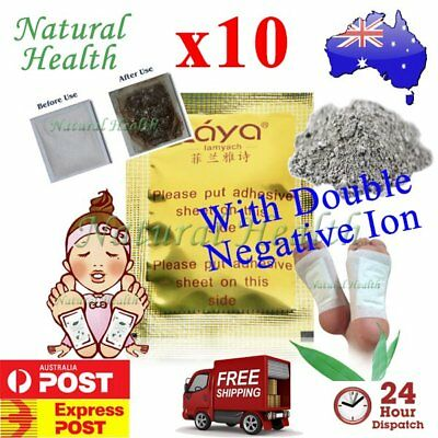 10 x Detox Foot Pad Patch KINOKI Herbal Weight loss toxin removal w Double Ion