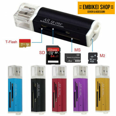 Lettore Multi Schede USB Memoria Memory Card Reader Per Micro SDHC SD TF MS M2