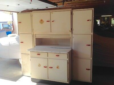 Hoosier Style Cabinet complete with Two (2) Rare Side Cabinets