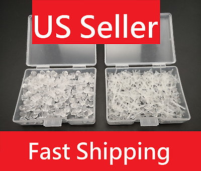 800PC Plastic Earring Post Clear Ear Pin and Silicone Rubber Back, 5mm Pin Boxed