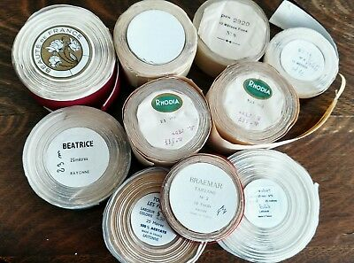 Large lot of French antique and vintage ribbons. Rare and lots of yardage!