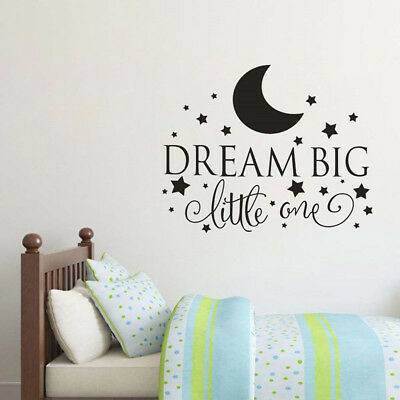 Dream Big Little One Wall Decal Quote Vinyl Wall Art Stickers Kids Bedroom Decor