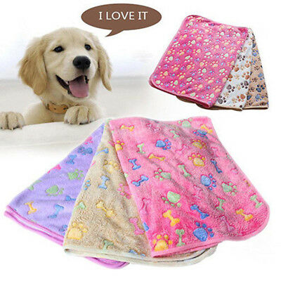 Velvet Pet Mat Paw Printed Cat Dog Puppy Fleece Soft Blanket Bed Cushion Supply