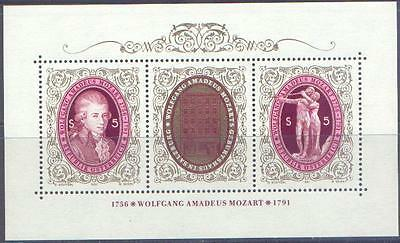 AUSTRIA 1991 MOZART BICENTENARY Miniature Sheet Unhinged Mint SG MS2257