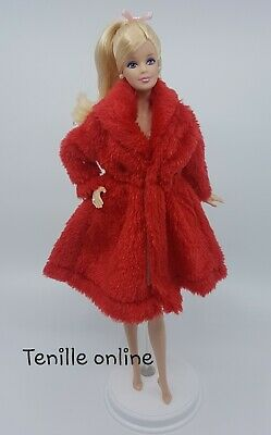 New Barbie clothes outfit jacket fur coat sweater jumper red curvy