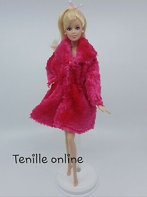 New Barbie clothes outfit jacket fur coat sweater jumper dark pink