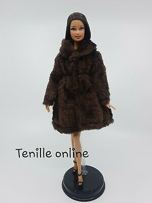 New Barbie clothes outfit jacket fur coat sweater jumper brown