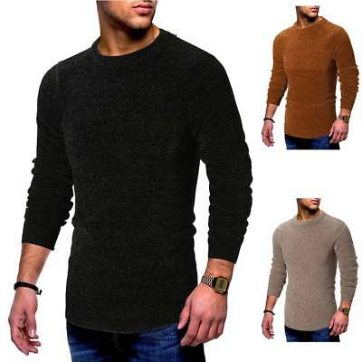 Fashion Mens Warm Solid Sweater Top Casual Knitted Pullover Crew Neck Sweatshirt